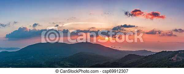 Sunset over the mountains in Thailand. Landscape panorama - csp69912307