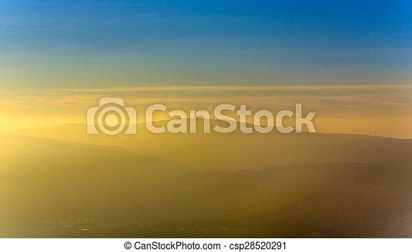 sunset over the mountains of the Taunus  - csp28520291