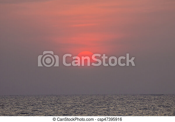 sunset over the ocean at Mumbai - csp47395916
