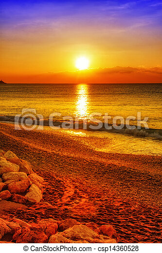 Sunset over the ocean - csp14360528