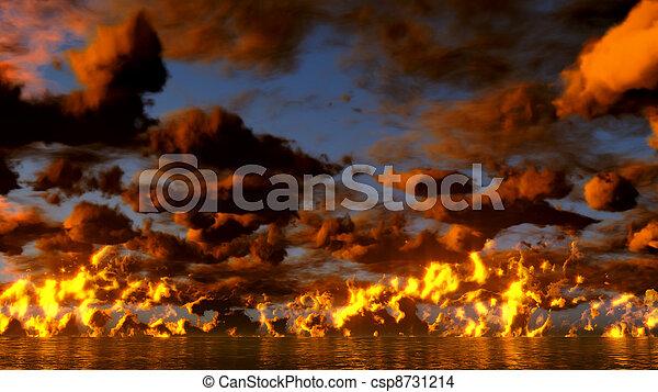 Sunset over the ocean - csp8731214