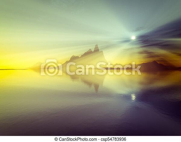 sunset over the ocean - csp54783936