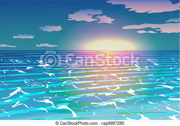Sunset over the ocean vector - csp9997280
