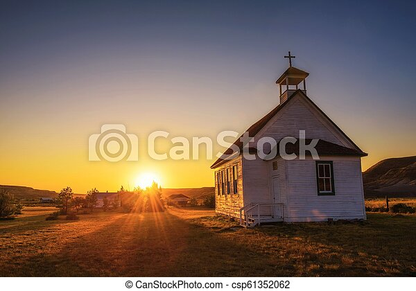 Sunset over the old church in the ghost town of Dorothy - csp61352062