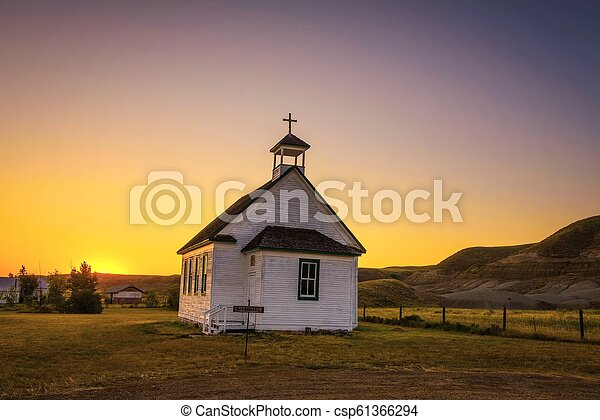 Sunset over the old church in the ghost town of Dorothy - csp61366294