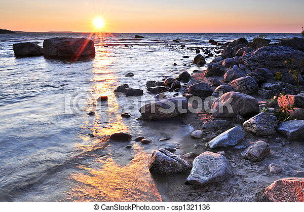Sunset over water - csp1321136