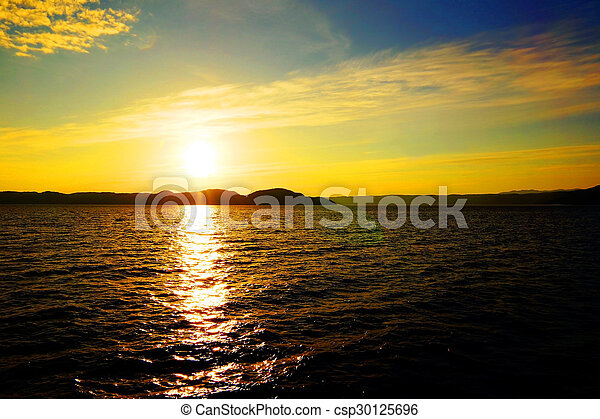 Sunset over water - csp30125696