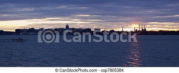 Sunset panorama of Madison - csp7805384