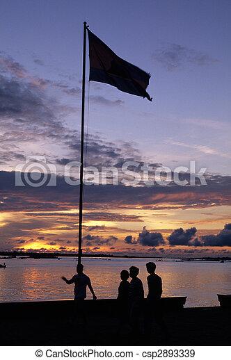 Sunset- Phnom Penh, Cambodia - csp2893339