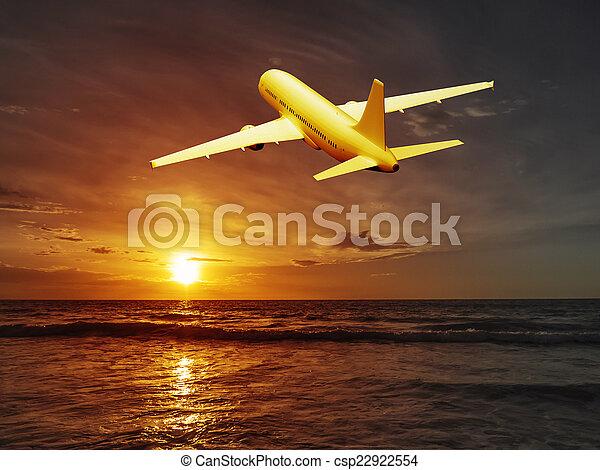 sunset plane - csp22922554
