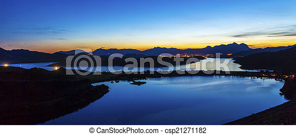 Sunset reservoir at Sai Kung, Hong Kong. - csp21271182