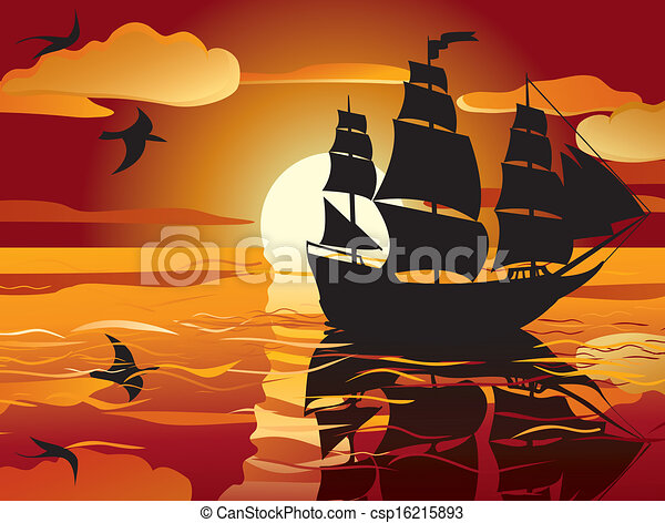 sunset. sailing vessel - csp16215893