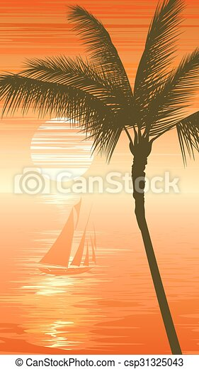 Sunset sea background with yacht. - csp31325043
