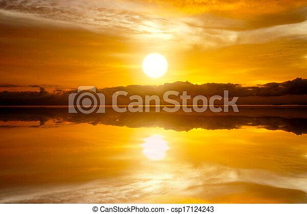 Sunset sky and lake - csp17124243
