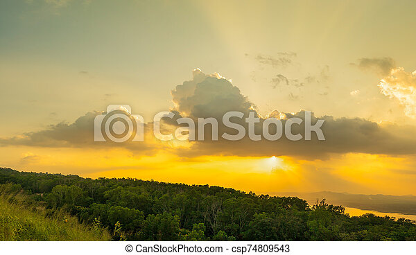 Sunset sky with ray light in twilight time - csp74809543