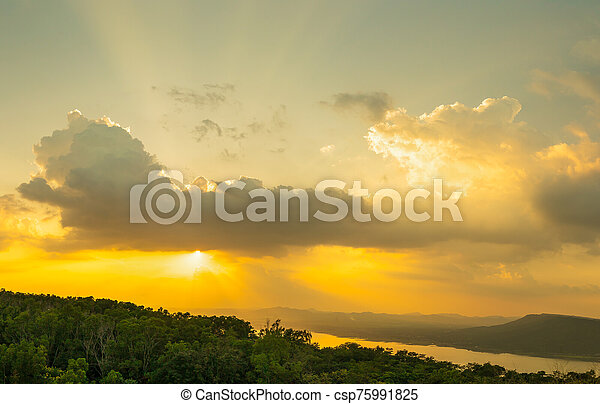 Sunset sky with ray light in twilight time - csp75991825