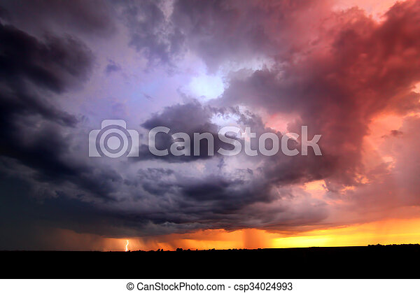 Sunset Thunderstorm Lightning Landscape - csp34024993
