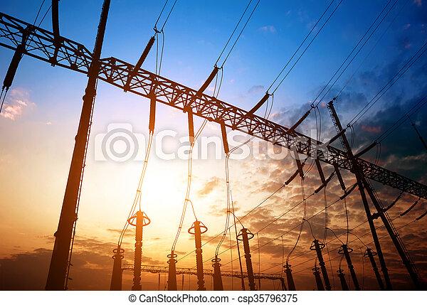 Sunset time substation - csp35796375