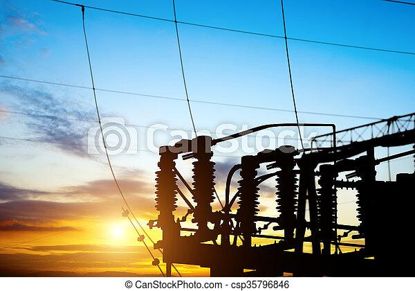 Sunset time substation - csp35796846
