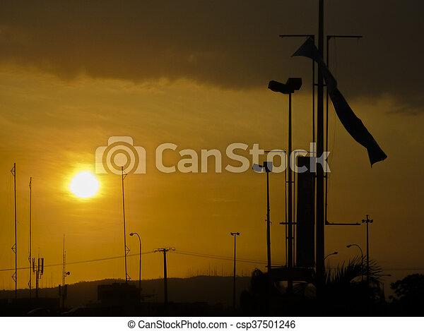 Sunset Urban Scene Guayaquil Ecuador - csp37501246