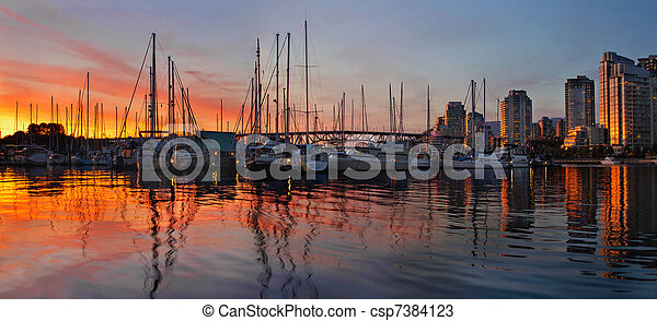 Sunset View from Charleson Park in Vancouver BC - csp7384123