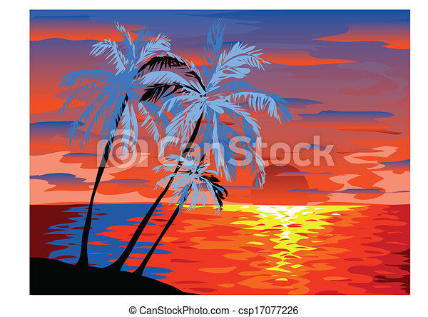 Sunset View In Beach With Palm Tree Vector