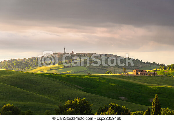 sunset view of Pienza - csp22359468