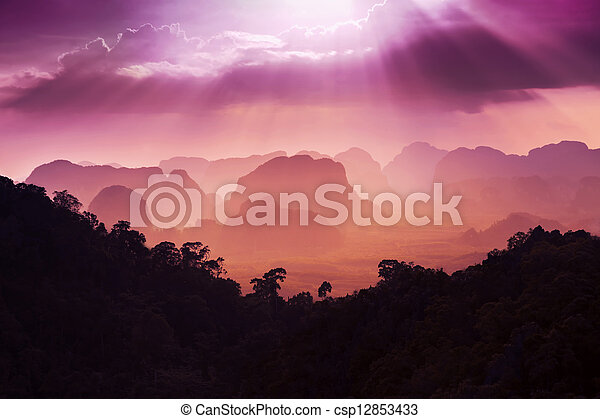 Sunset view of the beauty mountains - csp12853433