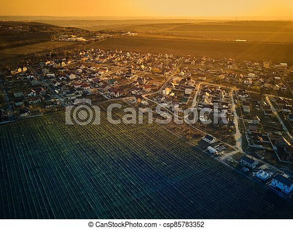 sunset., vista, pueblo pequeño, aéreo - csp85783352
