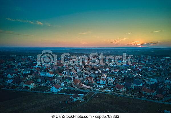 sunset., vista, pueblo pequeño, aéreo - csp85783363