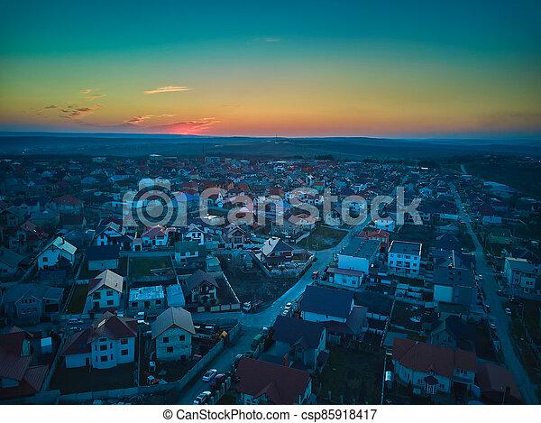 sunset., vista, pueblo pequeño, aéreo - csp85918417