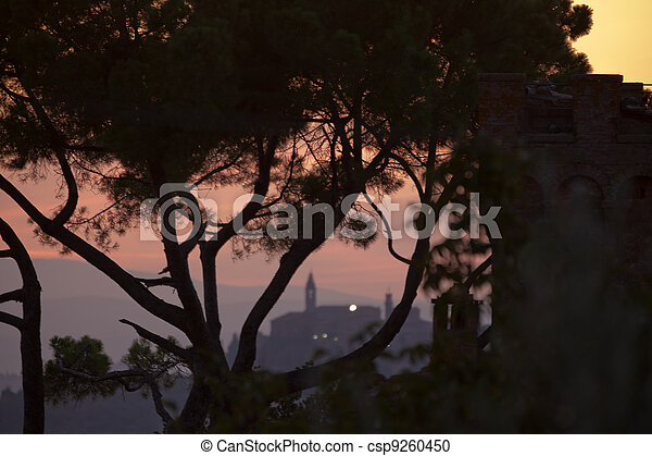 sunset with a view of Pienza. Tuscany - csp9260450