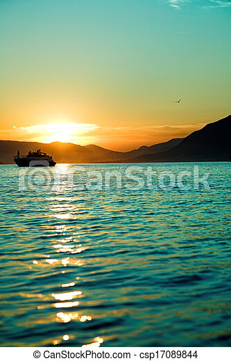 Sunset with boat - csp17089844