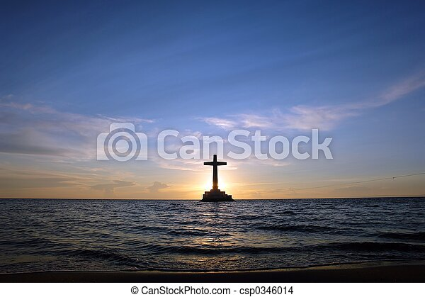 Sunset with cross. - csp0346014