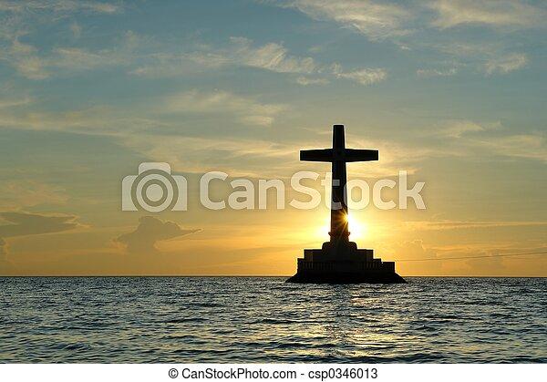 Sunset with cross. - csp0346013