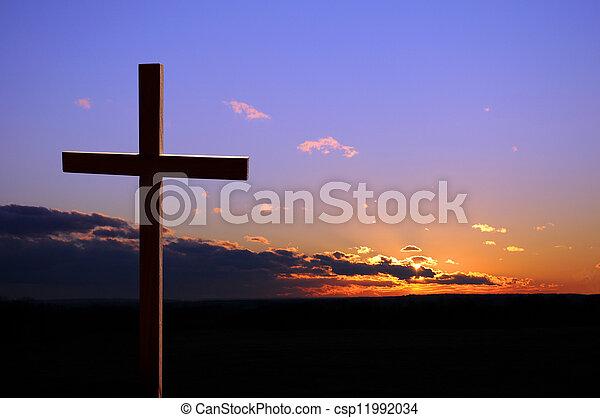 Sunset With Cross - csp11992034