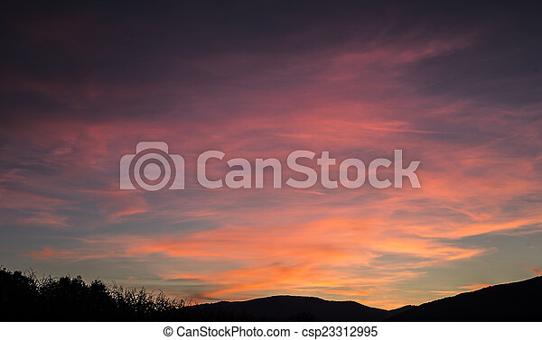 Sunset with landscape silhouette - csp23312995