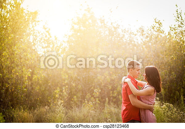 sunset young couple - csp28123468