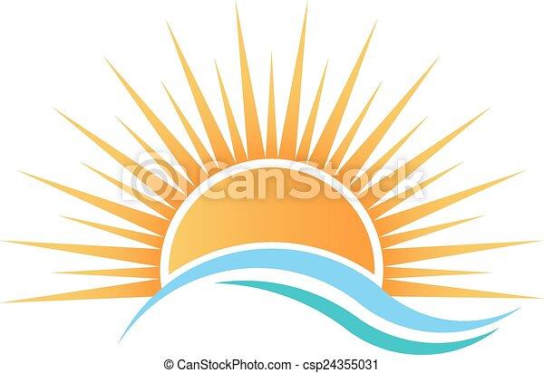 Sunshine over water waves. - csp24355031