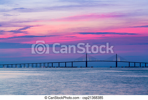 Sunshine Skyway Bridge at dawn - csp21368385