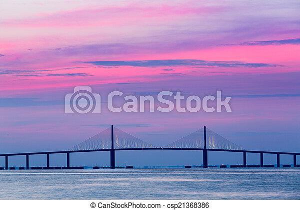Sunshine Skyway Bridge at dawn - csp21368386