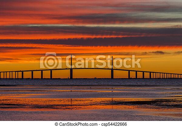 Sunshine Skyway Bridge at Sunrise - csp54422666
