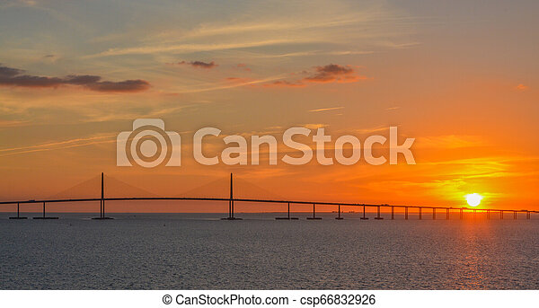Sunshine Skyway Bridge Silhouette on Tampa Bay, Florida - csp66832926
