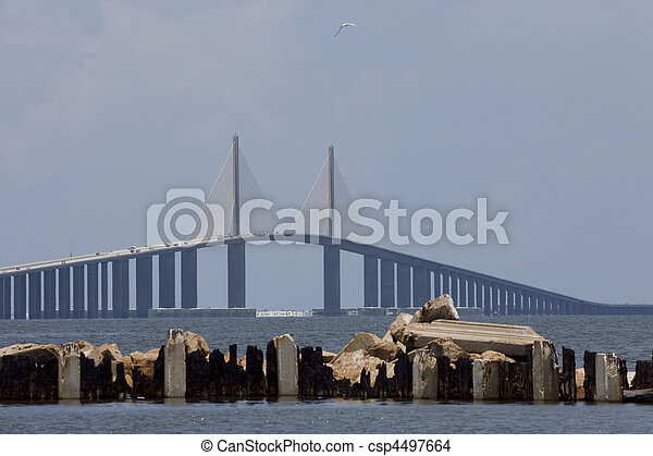 Sunshine Skyway Bridge Tampa Bay Florida - csp4497664
