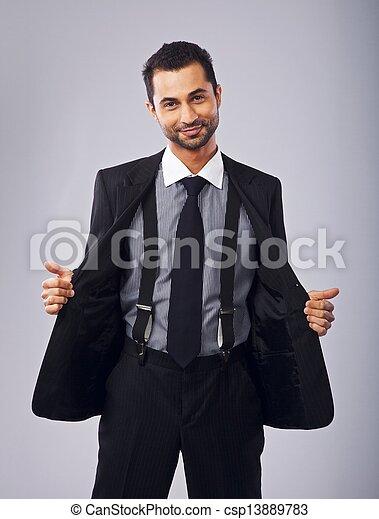 suo, cappotto, giovane, allegro, presa a terra, professionale, aperto - csp13889783