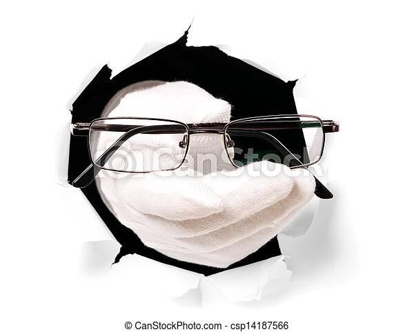 suo, occhiali, attraverso, dito, presa a terra, guanti, buco, uomo - csp14187566