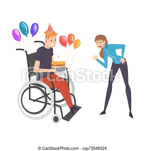 suo, sostenere, compleanno, femmina, persona, ragazza, handicappato, vettore, amico, pieno, sostegno, festeggiare, lei, godere, illustrazione uomo, vita, carrozzella, amicizia - csp73548324