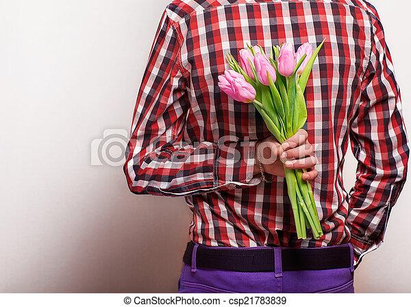 suo, valentine, rosa, coppia, -, attesa, woman., uomo, giorno, amare - csp21783839