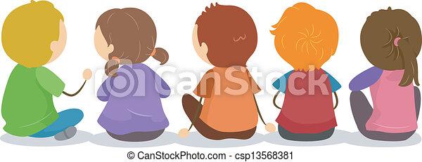 suolo, backview, bambini, seduta - csp13568381