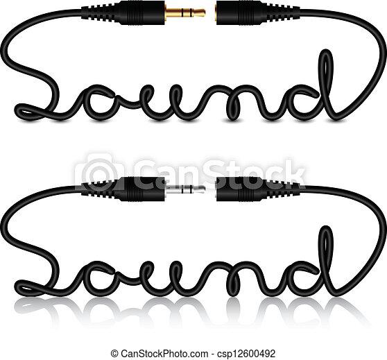 suono, connettori, vettore, cricco, calligrafia - csp12600492